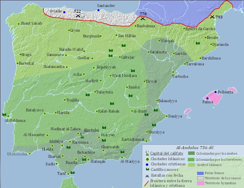 Mapa de la expansión del Islam en España, Al-Andalus, en 756