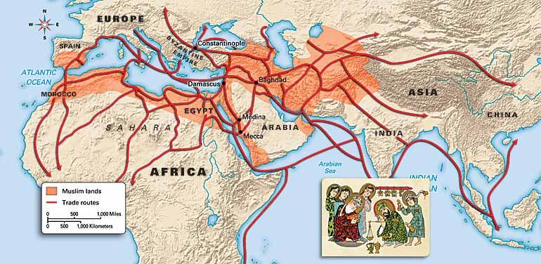 Rutas de comercio islámico. El Islam se extendió sobre todo por la honestidad de los comerciantes musulmanes, y nunca a través de la violencia