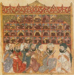Ilustración del siglo XIII que muestra una grupo de estudiosos en un biblioteca pública de Al Andalus (Wikicommons)