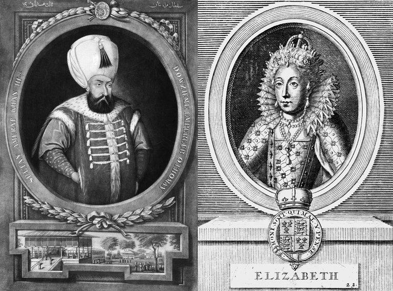 A la izquierda, Murad III, emperador otomano; a la derecha Isabel, reina de Inglaterra