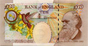 Billete de 10 libras que represente el rostro barbudo de Darwin